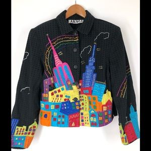 Retro Anage City Embroidered Jacket
